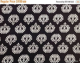 Flat 40% Off Black and White Screen Print Indian Cotton Dress Fabric by Yard