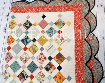 Queen size bed quilt handmade patchwork scalloped border fabrics by basic grey pb&j moda, gypsy by lily ashbury, chamberry by adornit