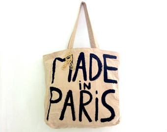 CUSTOM Made in Paris with charm Shopper Eco Tote Bag / Eve Damon