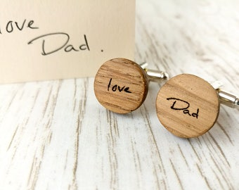 Hand written cufflink. Personalised cufflinks. Wooden Cufflinks.  Wedding cufflinks. Fifth anniversary gift. Fathers day gift. Oak Cufflinks