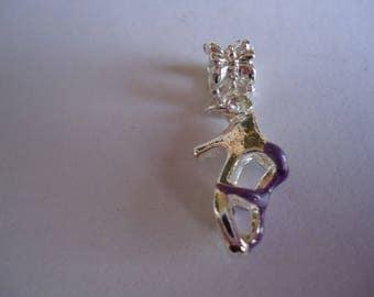 Purple heel sandal charm pendant