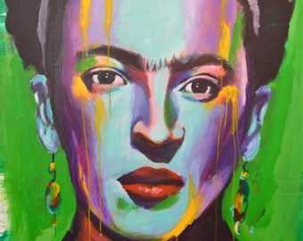 Frida Kahlo Portrait Poster Mexican Artist Celebrity Print Wall Art Colorful Abstract Pop Art