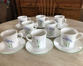 Set of 8 Corelle Iris cup and saucers
