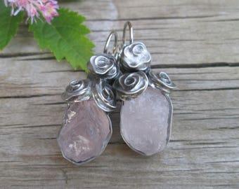 Natural  rose quartz - Earrings