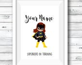 Personalised superhero print, and superhero ABC, girls room, gift for girls, custom bundle, fan art, custom print, girls artwork, custom