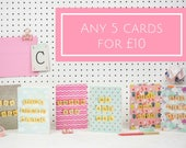 Greetings Card Bundle, 5 Card bundle, Scrabble Inspired Greetings Card Pack, Pick and Mix Cards | Claireabellemakes