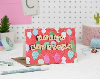Happy Birthday Card, Happy Birthday Scrabble Card, Scrabble Inspired Greetings Card, Red Birthday Card | Claireabellemakes