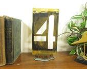 Brass Number 4, 8 1/4 Inch Brass Stencil Four