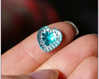 Cabochon 12mm blue Rhinestone Heart diamond x 1