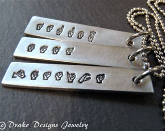 Sign language jewelry with custom name. ASL gift personalized bar necklace
