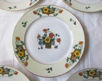 "Set of 5 Bohemia Ceramics 7.5"" Salad / Dessert Plates, 1930s Art Deco Flowers Czecho-Slovakia"