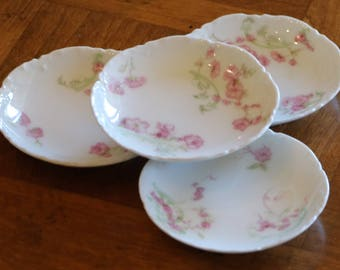 Haviland Limoges France -  Set of Four Butter Pats Schleiger 63 Pattern Ranson Shape With Pink Flowers and Green Scrolls