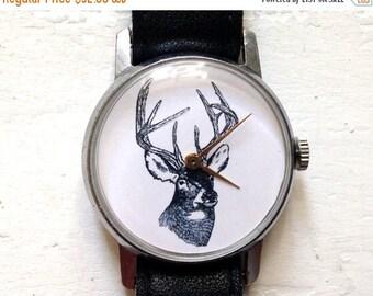 "ON SALE Mens watch ,Russian watch ,  Soviet watch ,Mechanical watch ,black white watch,classic watch, Santa's reindeer ""Victory"""
