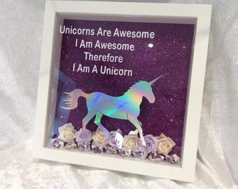 Unicorn Frames with Glitter background,Harlequin Vinyl and Flowers with Acrylic Beads