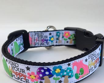 Inspired by Trolls dog Collar, adjustable dog collar, Find Your Happy Place