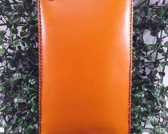 My Design Smart style Wallet 100% handmade and Leather cow color orange and Black Leather