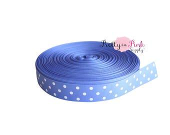"Powder Blue/White Polka Dot Grosgrain Ribbon- 7/8"" Grosgrain Ribbon- 7/8"" Grosgrain Ribbon- Craft Supplies- Hair bow Headband D.I.Y Supplies"
