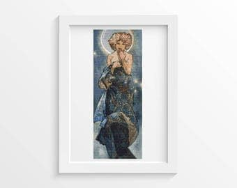 Mucha Cross Stitch Chart, Claire Du Lune Cross Stitch Pattern PDF, Art Cross Stitch, Alphonse Mucha, Embroidery Chart (MUCHA20)