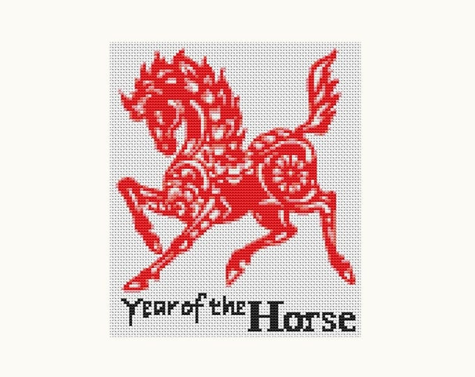 Year of the Horse, Chinese Zodiac Cross Stitch, Art Cross Stitch (TAS119)
