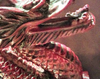 Vintage Large Red Resin Dragon