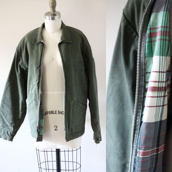 1980s army bomber // vintage quilted bomber jacket // vintage plaid bomber