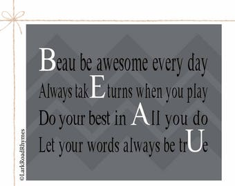Boy Room Art Boys Room Decor Kids Wall Art Boy Art Boy Nursery Decor Kids Personalized Inspirational Kids Motivational Print Poem 8x10 Beau