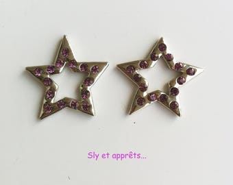 2 spacer stars with purple 21mm rhinestone