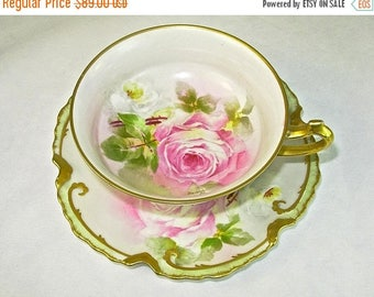 ON SALE ANTIQUE Coronet Limoges Cup and Saucer, Pink Roses, Gold, Hand Painted, Signed, Borgfeldt