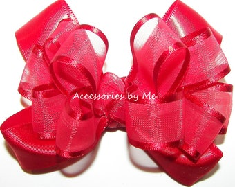 Red Hair Bow, Baby Alligator Clip, 3 Inch Christmas Bows, Hairbow Clippie, Small Tiny Clips, Girls Hairbow, Toddler Barrette, Mini Hairbows