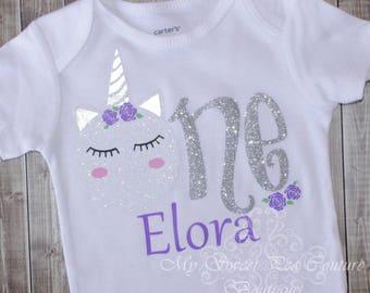 Unicorn First Birthday Outfit- Unicorn Birthday- Personalized- First Birthday Outfit- 1st Birthday- Wimsical Birthday- One- Birthday Shirt