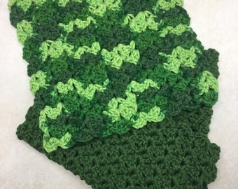 Set of Three Hand Crocheted Cotton Dishcloths