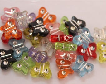100 multicolor acrylic Butterfly beads