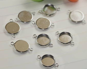 50 support cabochon metal silver plated brass 12mm round connector pendant