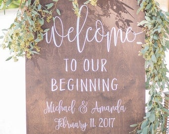 Wedding Welcome Sign - Welcome to Our Beginning Sign - WS-235