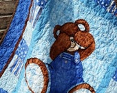 Sale Teddy Bear Nursery Billy Bear Blue Brown Boy Nursery Boy Crib Quilt Teddy Bear Traditional Nursery Crib Toddler Teddy Bear Baby Shower