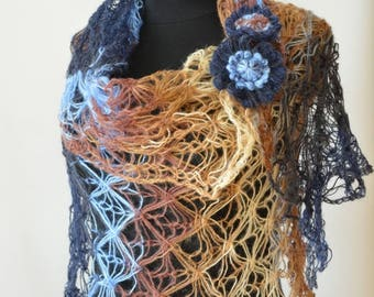 Mohair Shawl Elegant Scarf Soft Light Shawl Hand Woven Scarf Loose Knit  Shoulder Wrap Cool Weather