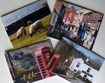 Yorkshire, Note Cards, Anglophile, Stationery, Photo Greeting Cards, Premium Quality, Set of 4 With Envelopes, Greeting Cards