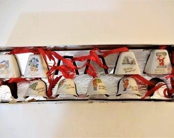 Vintage Porcelain Christmas Bells in Original Box - Set of 8 - Bell Ornaments - Japan - Hand Painted - All Different - Ceramic Bells