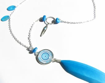 Mandala necklace and feathers, blue and silver