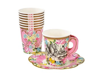 Truly Alice, Paper Cups, Saucers, Alice In Wonderland, Themed, Party, Tableware, Supplies