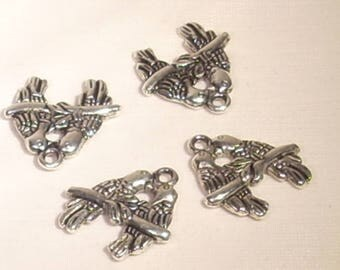 Set of 4 inseparable birds charms silver plated 17mm