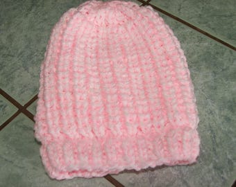 Baby Pink/white wool hat - 3/6/months - handmade beaded sides