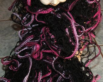 Hand made - Mirabella - edge black ruffle scarf - pink