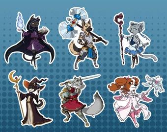 RPG Class Cats and Dogs Vinyl Full Sticker Set, Original Sticker, Original Design, Original Sticker Design, Fantasy Art, Armor Design,