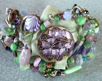 Green and Purple Beaded Cuff with Glass Button and Lace