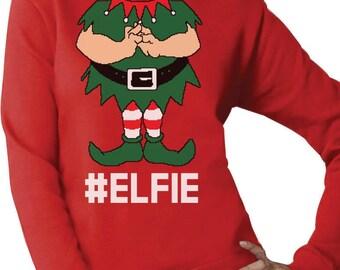 Elf Suit Funny Elfie Christmas Women Sweatshirt