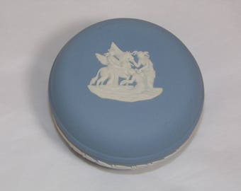 Vintage Wedgwood Round Trinket Box - Pegasus Greek Gods - Blue Jasperware Made in England
