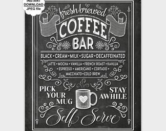 Chalkboard Coffee Bar Wall Art, Printable Kitchen Chalk Art, Coffee Print, Coffee Poster, Kitchen Print 8x10 11x14 16x20 Instant Download