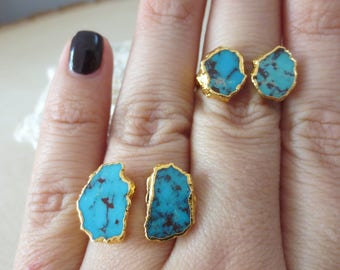 Turquoise gold ring, size 7 Turquoise ring, double Turquoise ring, Turquoise stacking ring, December birthstone