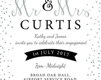 The Future Mr + Mrs engagement invitation silver glitter confetti invitation digital Printable